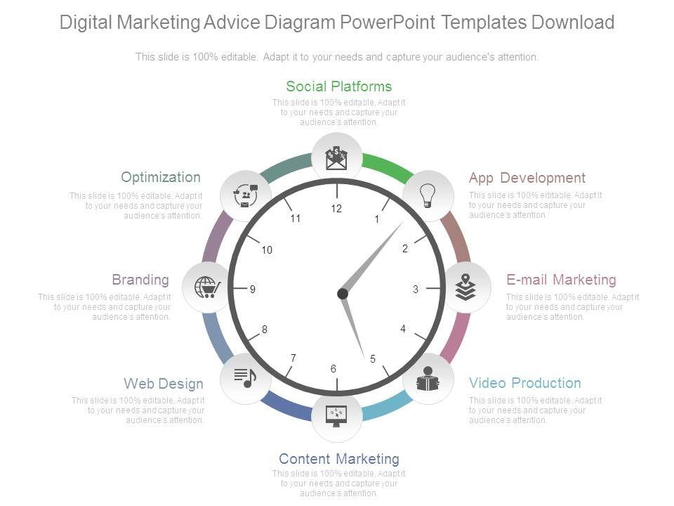 Digital Marketing Advice Diagram Powerpoint Templates