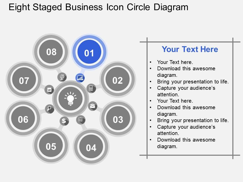 Eight Staged Business Icon Circle Diagram Flat Powerpoint