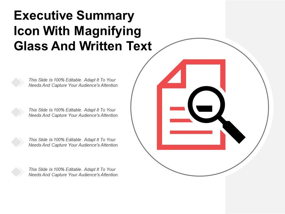 Executive Summary Icon With Magnifying Glass And Written