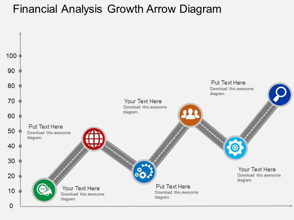 Financial Analysis Growth Arrow Diagram Flat Powerpoint