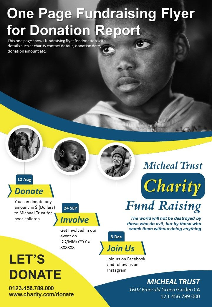 one page fundraising flyer for donation