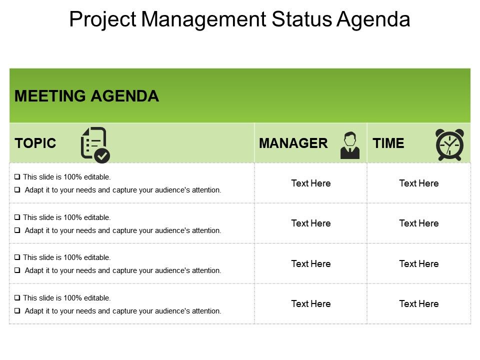 To make your pm meetings seamless put the agenda for each meeting into a shared doc and link to it in the invite, let attendees add to the agenda … Project Management Status Agenda Powerpoint Ideas Powerpoint Templates Designs Ppt Slide Examples Presentation Outline