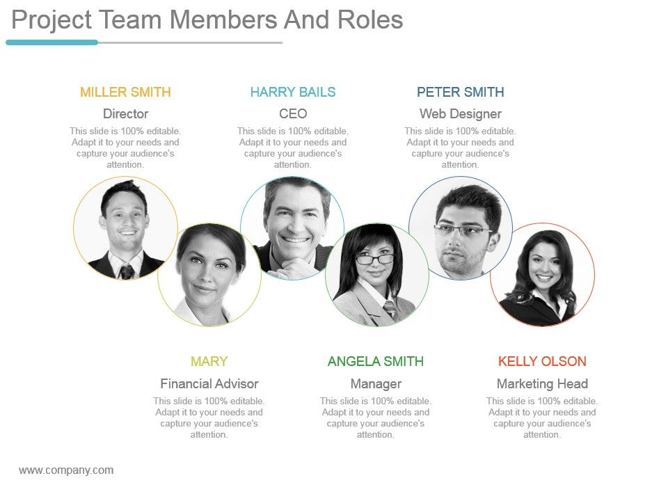 Project Team Members And Roles Ppt Example Professional