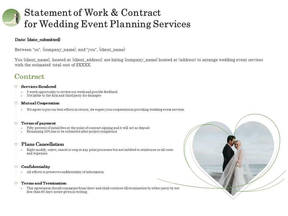 Much of the time, it hinges on who you know at. Statement Of Work And Contract For Wedding Event Planning Services Ppt File Display Presentation Graphics Presentation Powerpoint Example Slide Templates