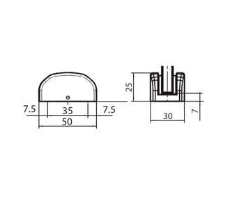 GEZE 120417 Floor Guide For Frameless Glass Sliding Doors