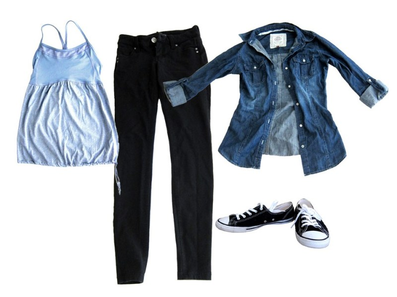 outfit 3: black skinnies, athletic tank, chambray shirt, converse (casual day stroll at the local market)