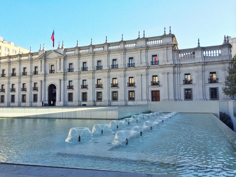 go around to the backside of La Moneda to see the Plaza de la Ciudadania