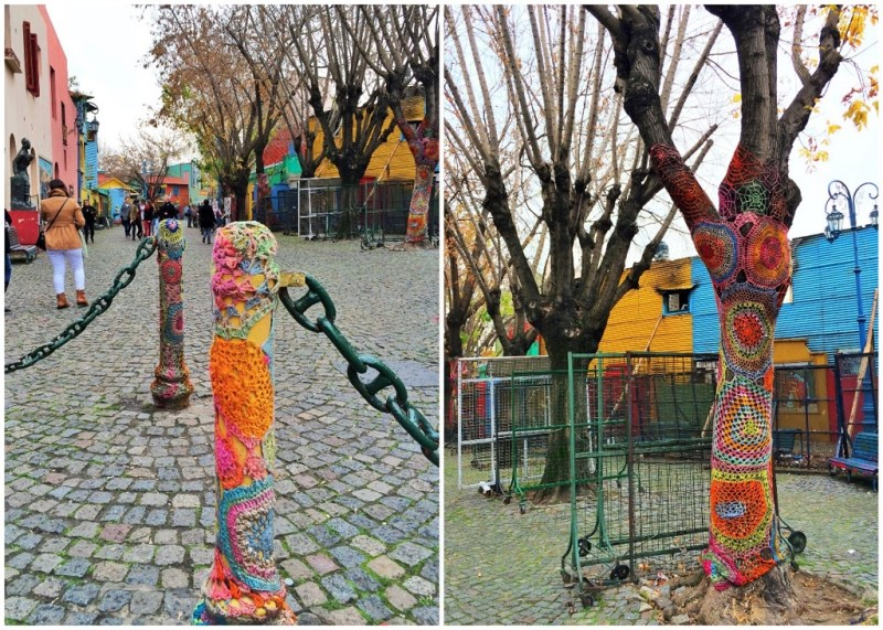 crochet art on bollards and trees!