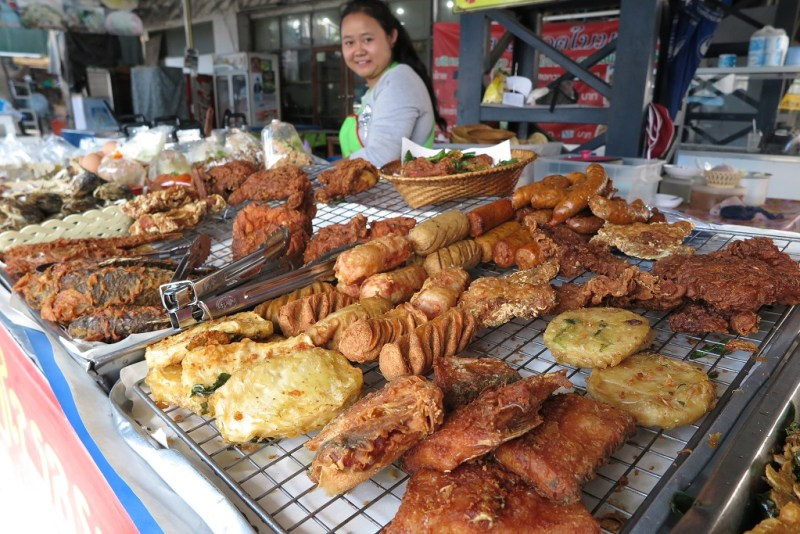 all kinds of fried deliciousness at the street stall downstairs