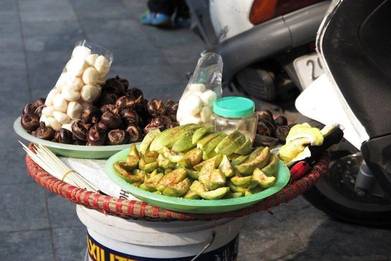 streetside snacks: chestnuts and fruit slices