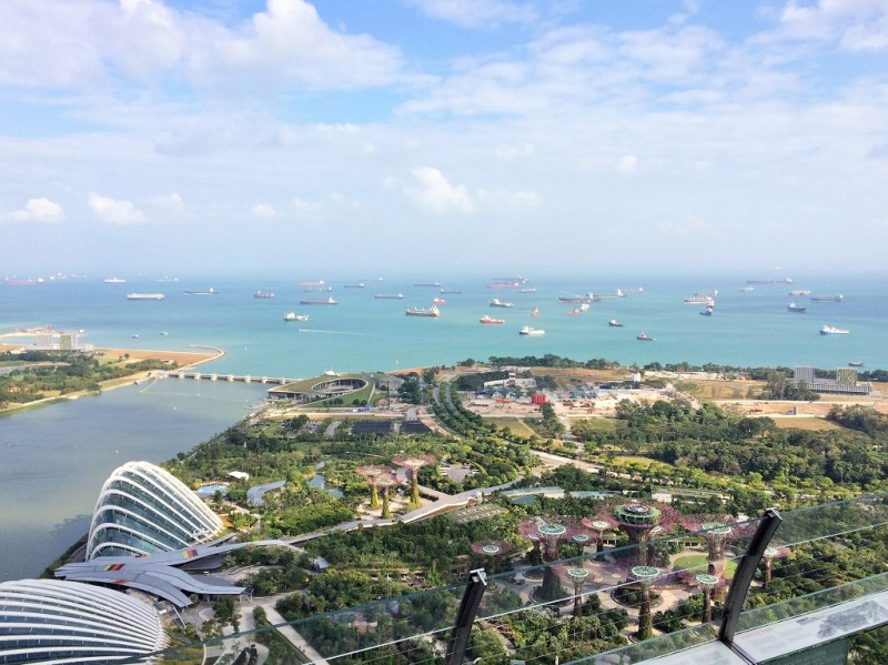 overlooking Gardens by the Bay from the Marina Bay Sands rooftop bar