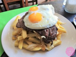 Week 2: Santiago, Chile - Chileans loooove fries! This is bisteq a lo pobre, a surprisingly good meal at any time of the day.