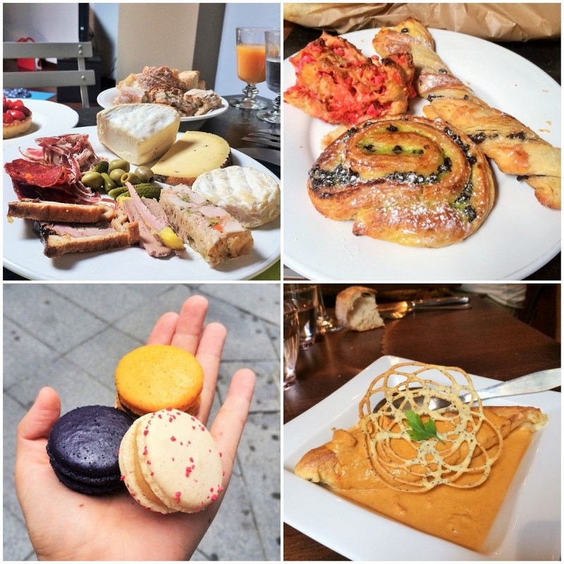 1. an assortment of charcuterie and cheeses // 2. French pastries! // 3. macarons from Voisin // 4. traditional Lyonnaise bouchon food