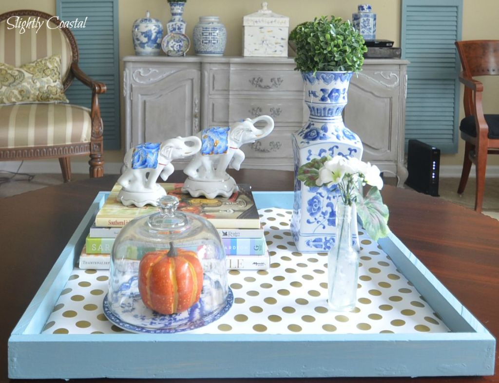Coffe Table Tray with chinoiserie, pumpkin, and fall touches from Slightly Coastal.