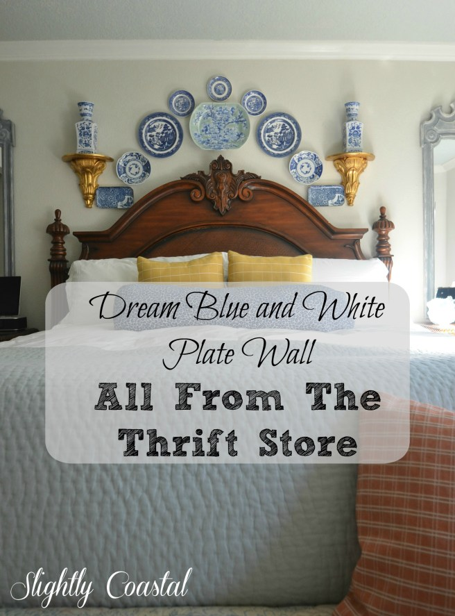 Master Bedroom Blue and White Plate Gallery Wall with mirrors on each side Slightly Coastal