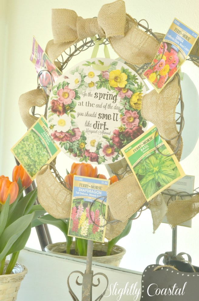 Burpee Seed Wreath with Free Printable Spring Home Tour