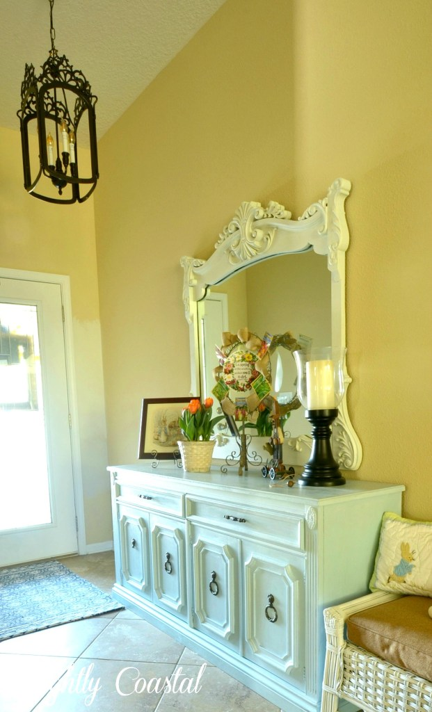 Foyer Dressed for Spring Home Tour