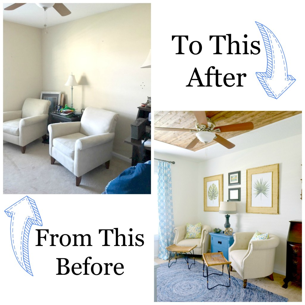 Before and After Tropical Palm Beach Decorating and Decor Style