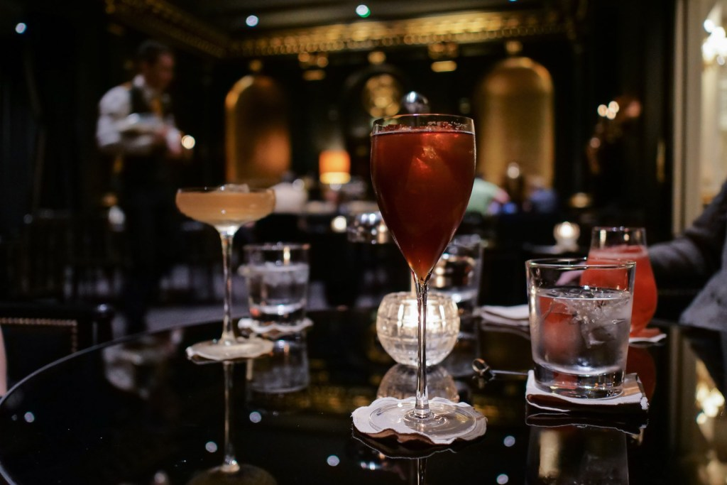 Our cocktails at Beaufort Bar at the Savoy in London.