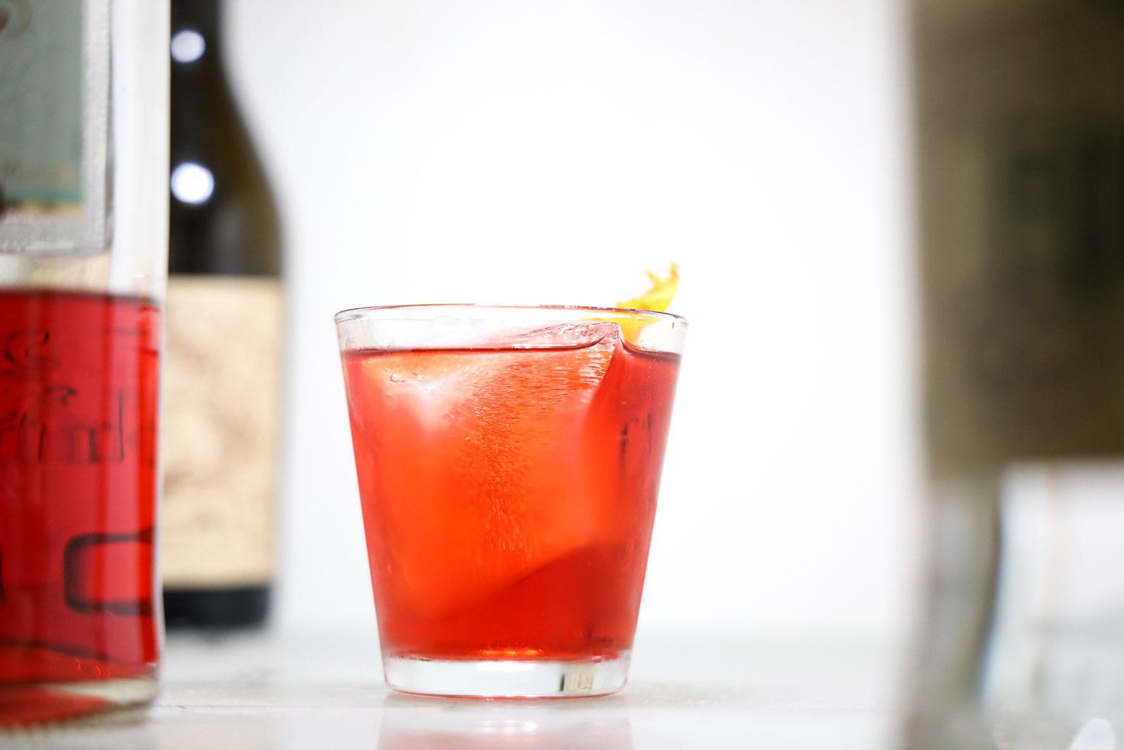 A negroni cocktail with Fords gin, Campari, and Carpano Antica.