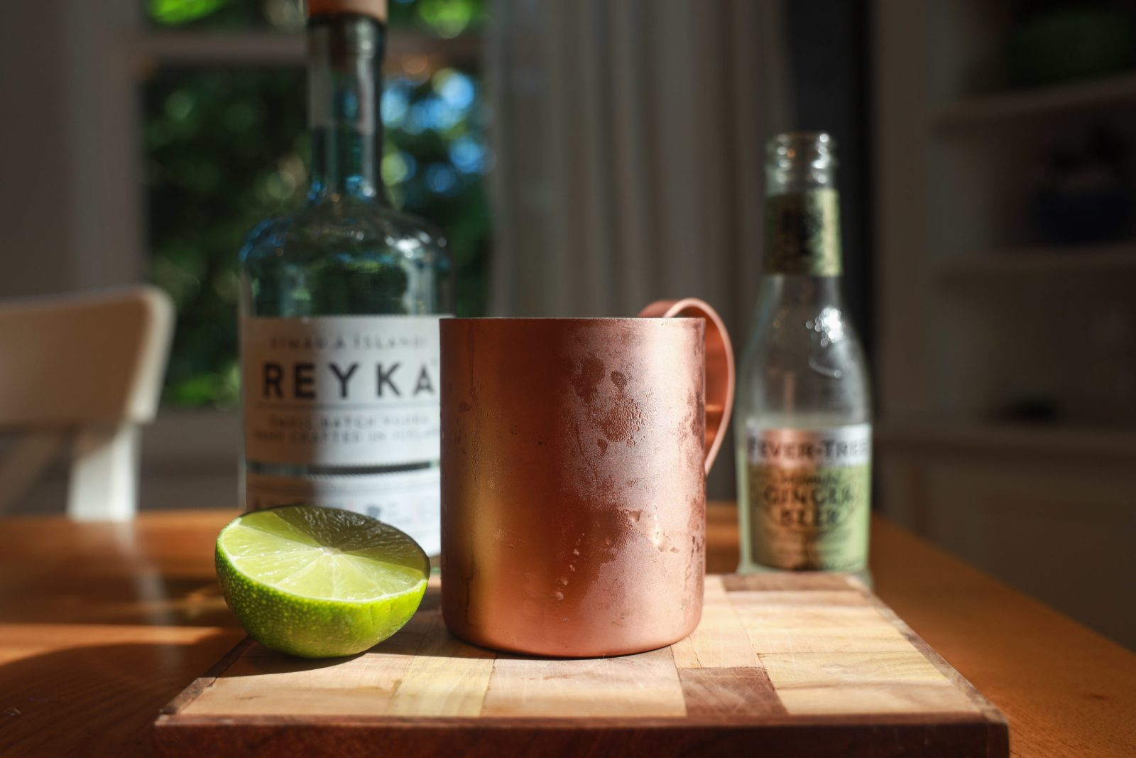 Moscow Mule cocktail in a copper mug with Reyka vodka and Fever Tree ginger beer.