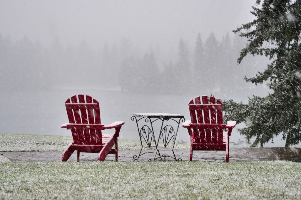 Jasper Park Lodge snow flurries.