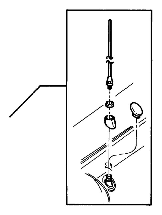 Dodge Dakota Radio Antenna Mast. Base Cable and Bracket