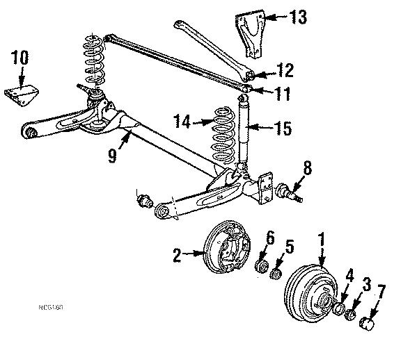 Chrysler LeBaron Track bar mount bracket. On rail
