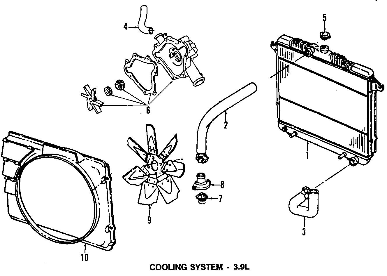 Dodge Dakota Upper hose. 3.9L; w/o Max Cool. 6 CYLINDER, W