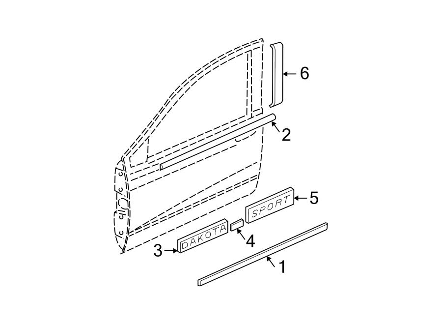 Dodge Dakota Pillar tape. R/T, red. TRIM, FRONT, FCA