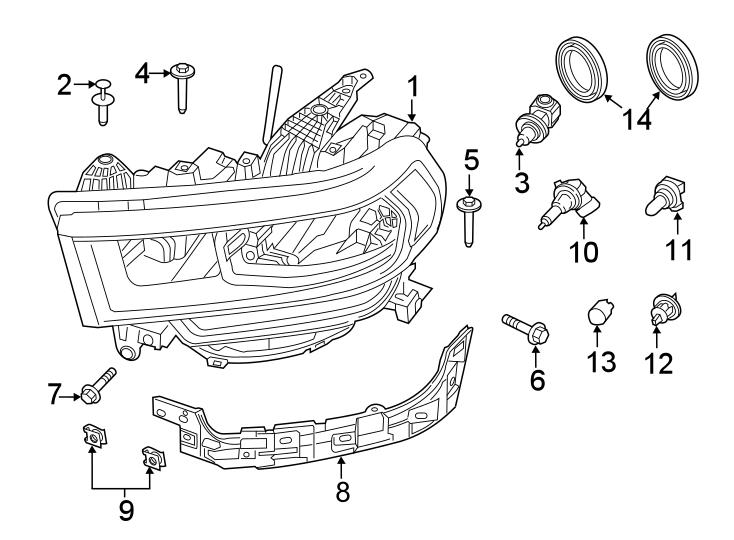 Ram 2500 Headlight. HALOGEN, chrome bezel. Headlamp, Front