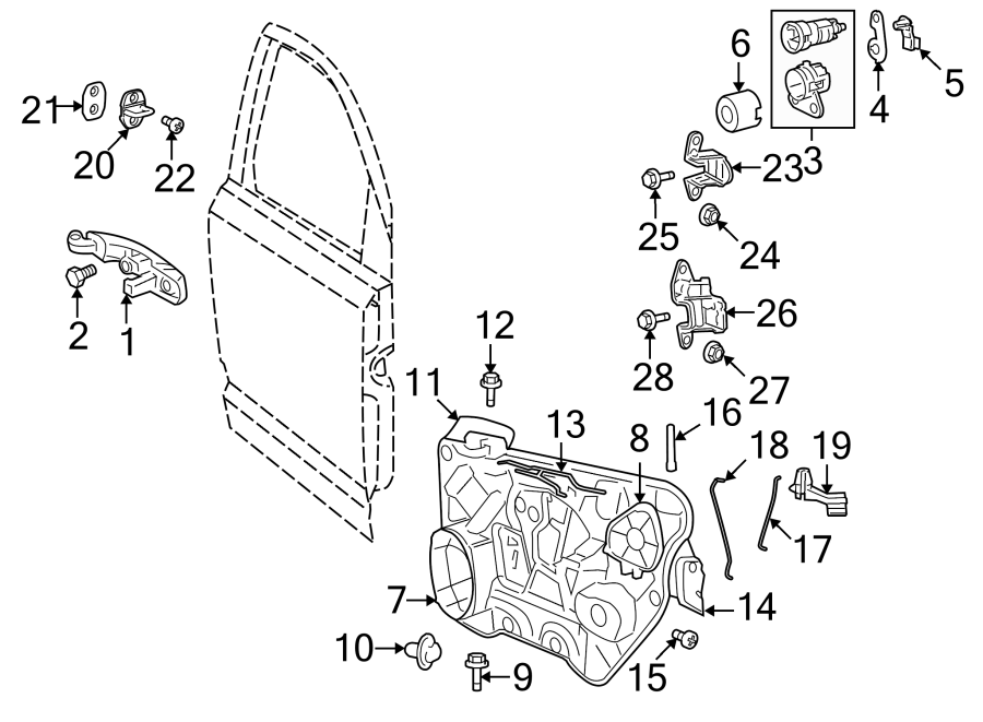 Dodge Journey Door Wiring Harness (Front). 2009-10, w/o