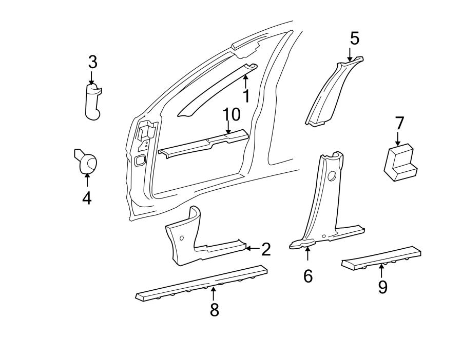 Jeep Grand Cherokee Body A-Pillar Trim Panel. 1999-01