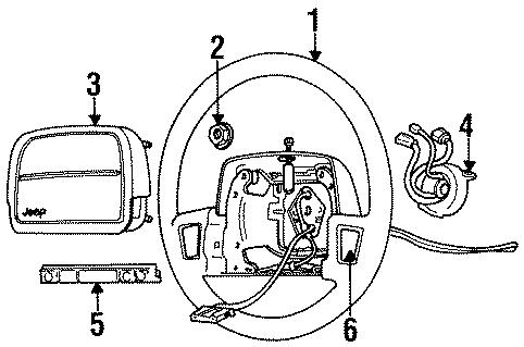 Jeep Cherokee Steering Wheel Nut. 1995-96. 1997-00. 2