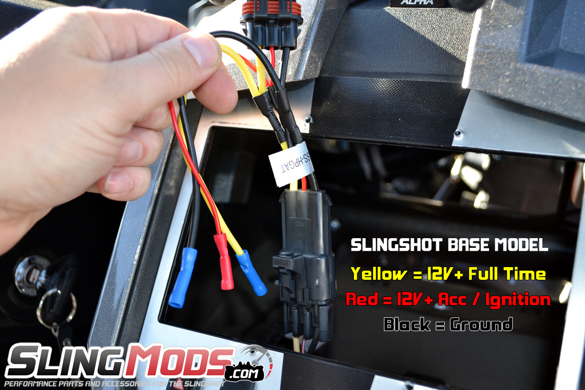 hight resolution of  scosche aftermarket stereo power harness with oem backup camera integration for the polaris slingshot 2015