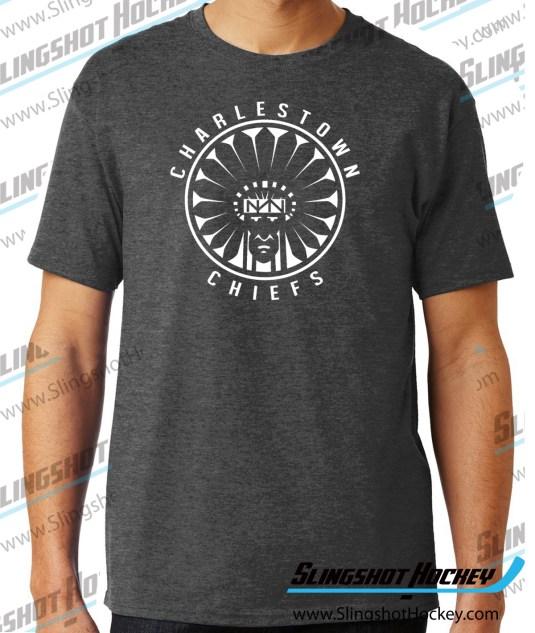 Charlestown-Chiefs-Warrior-charcoal-heather-grey-hockey-tshirt