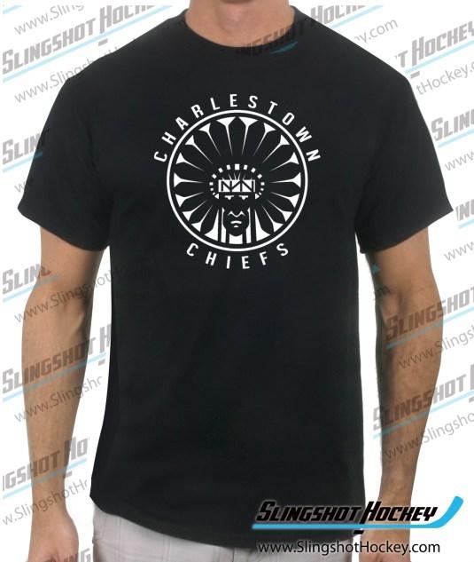 Charlestown-Chiefs-Warrior-slapshot-black-mens-hockey-tshirt