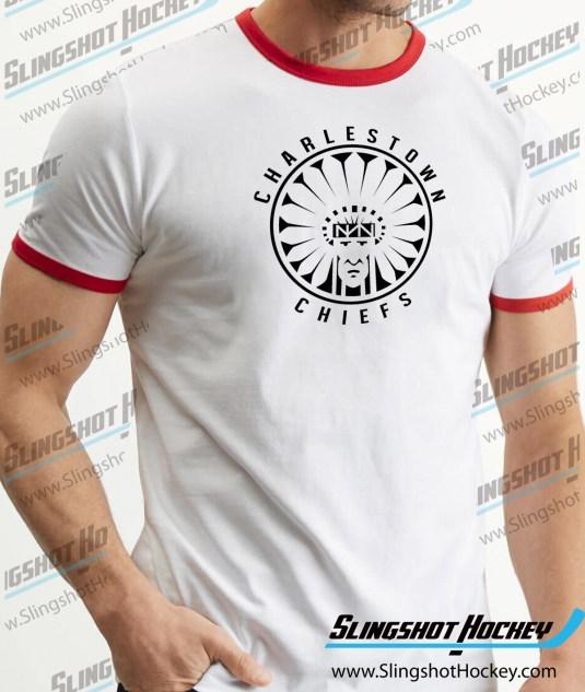 Charlestown-Chiefs-Warrior-slapshot-ringer-white-red-hockey-tshirt-SH