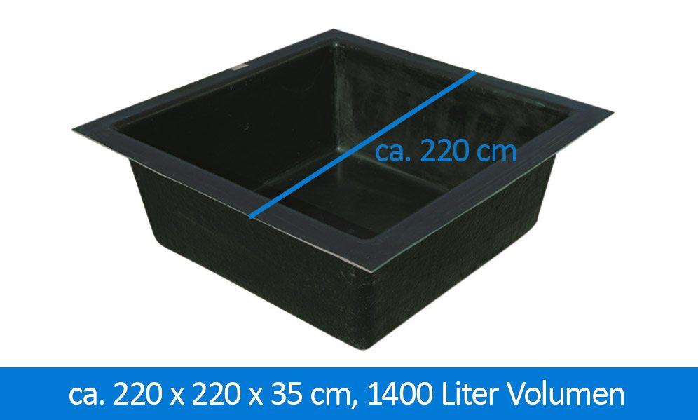 gfk teichbecken wasserbecken rechteckig x x cm liter | designmore, Gartenarbeit ideen