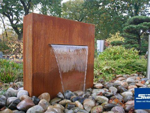 cortenstahl brunnen garten wasserfall-stele cortenstahlbrunnen - variante