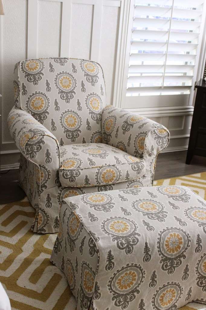 GrayYellow Bedroom Chair and Ottoman  Slipcovers by Shelley