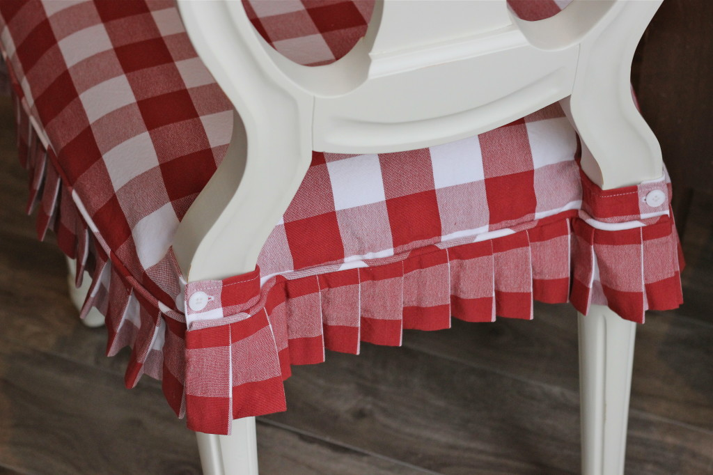 Red and White Buffalo Check Slipcovers  Slipcovers by Shelley