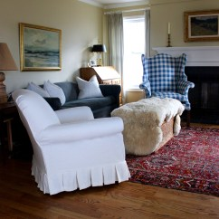Bedroom Chair With Skirt Graco Blossom High Babies R Us Canada White Linen Box Pleat Slipcovers By Shelley