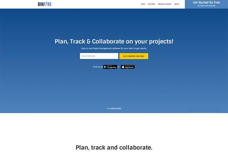 Binfire project management app