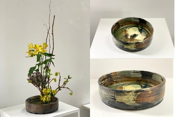 Montage of a shallow vase with ikabana arrangement.