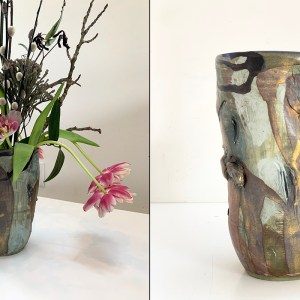 wide pottery vase with flowers