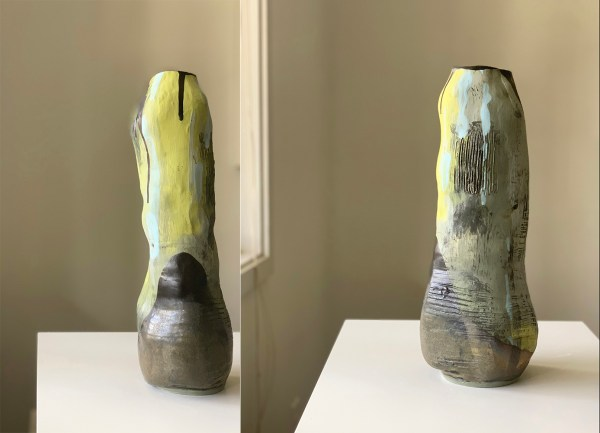 tall vase with chartreuse underglaze