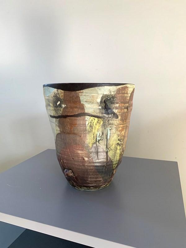 wide pottery vase