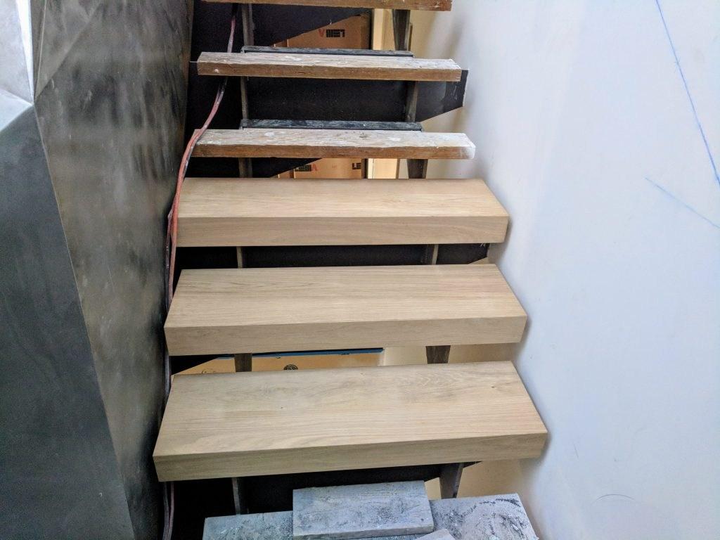White Oak Custom Stair Tread Templating – Sloan S Vista   Custom Oak Stair Treads