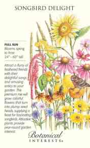 Songbird Delight Flower Mix: Attract a flurry of feathered friends to your garden! This mix supplies a feast for fascinating songbirds.